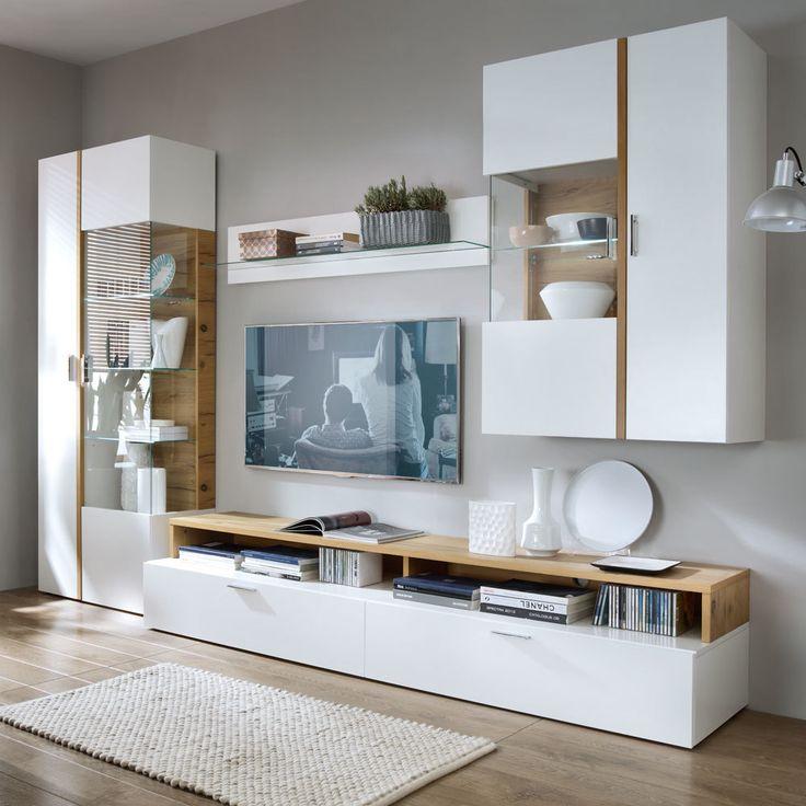 Wohnzimmer Wohnwand in Weiß Eiche Furnier (4-teilig)   Wohnzimmer > Schränke > Wohnwände   Weiß   Holzwerkstoff   Basilicana