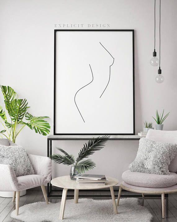 Une seule ligne nu féminin imprimable, minimaliste femme corps Profil Artwork, gravures de forme féminine, belle Illustration, impression d'une ligne mince