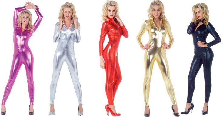 It includes one metallic jumpsuit with high collar and zipper front in the color of your choice. A great costume for any costume parties! Metallic Jumpsuit. Available with the following adult woman's sizes.   eBay!