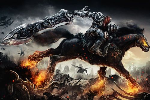 darksiders GAME FIGURE poster FLAMING HORSE SWORD headless man riding 24x36- SW0