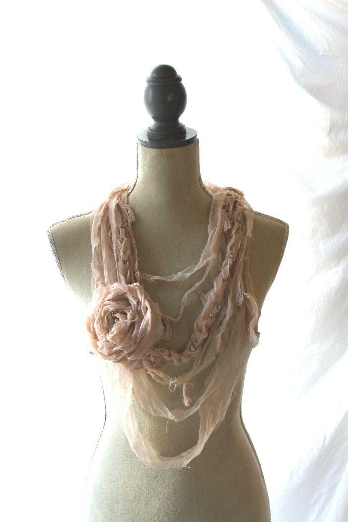 Fabric rag necklace, Gauze boho chic scarf, Valentines Day Jewelry, shabby blush statement necklace, boho chic jewelry, women's jewelry. $45.00, via Etsy.