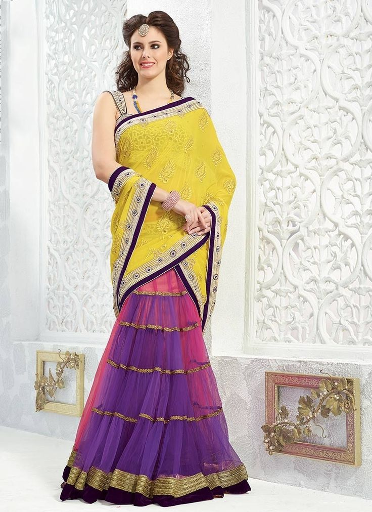 Whimsical Pink, Purple and Yellow Applique Designer Saree