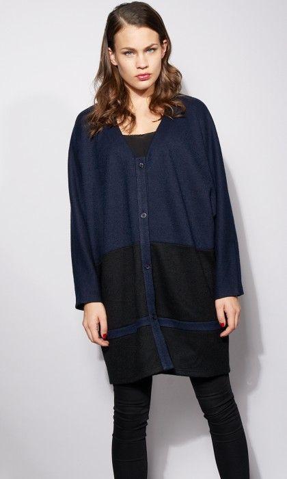 Gilet femme laine bicolore par Otinguema