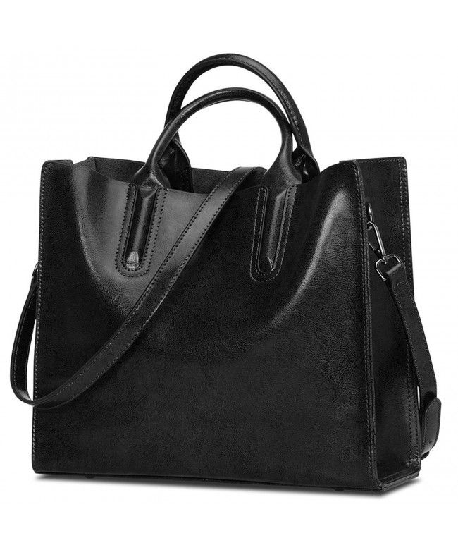 85d8fc19318c On Sale- Women Genuine Leather Top Handle Satchel Crossbody Shoulder Bag  Medium - Black - C8182HLZELX  Bags  Handbags  Tophandlebags  gifts  Style