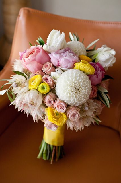 gorgeous flowers to go with a lemon yellow wedding {with touches of pink}