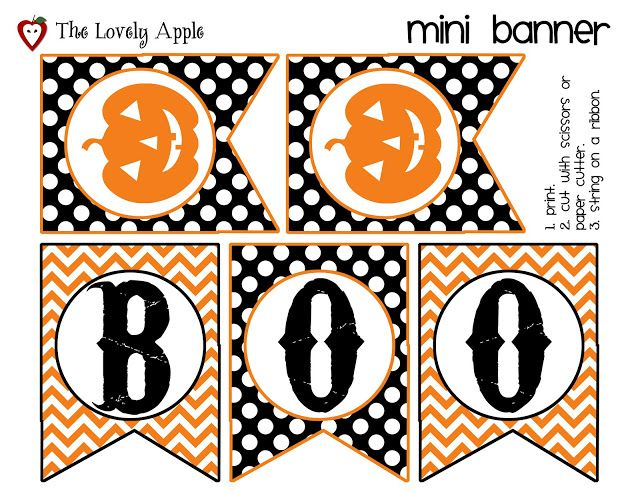 free printable mini halloween banner by the lovely apple halloween pinterest halloween halloween banner and halloween decorations