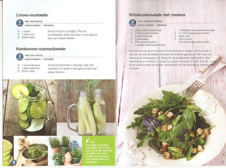 Weight Watchers - Limoen-muntwater // Komkommer-rozemarijnwater // Wildekruidensalade met couscous