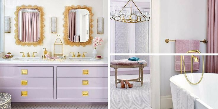 Painting Walls with Color Theory Tara Fingold Lavender Bathroom Brass Fixtures Closet Chandelier Luxurious Bathtub