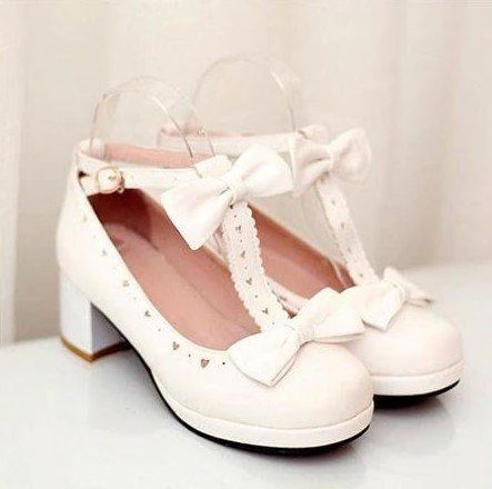 Bow Heart Hollow Lolita Shoes SD00490