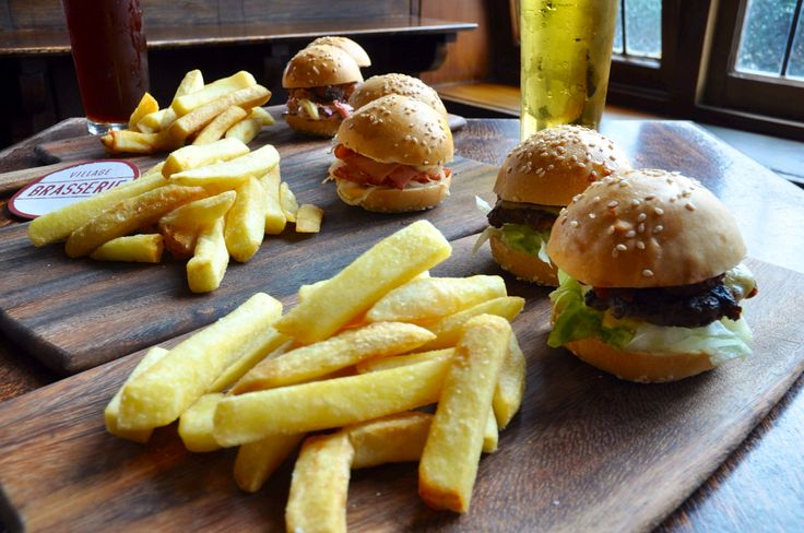 Sliders with fries at Village Melbourne