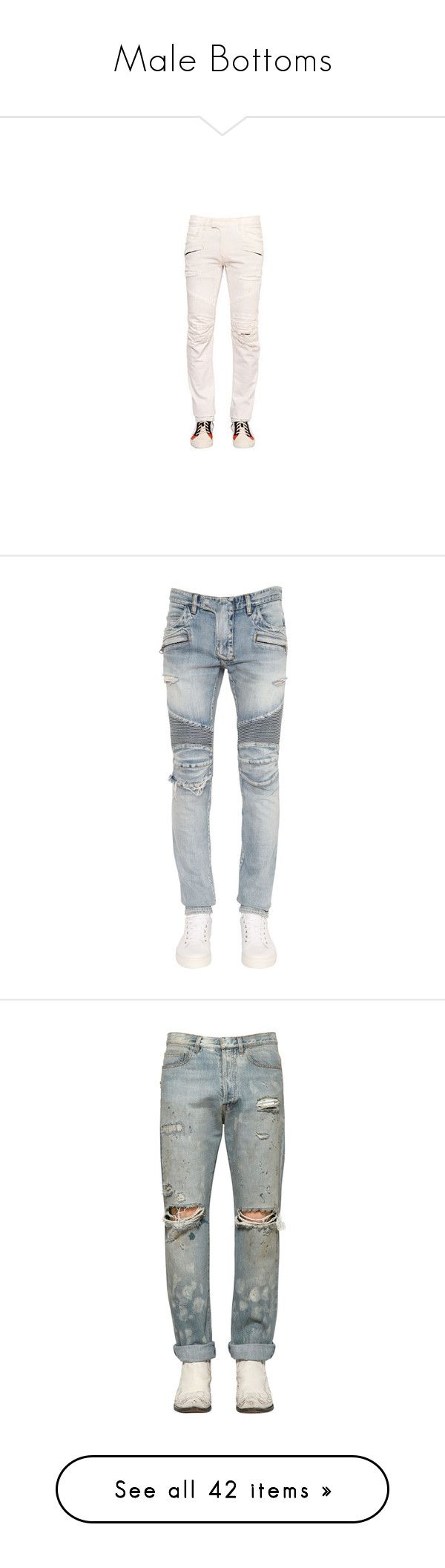 """""""Male Bottoms"""" by purrfectas ❤ liked on Polyvore featuring men's fashion, men's clothing, men's jeans, mens destroyed jeans, mens zipper jeans, mens distressed jeans, mens torn jeans, mens biker jeans, white and mens jeans"""