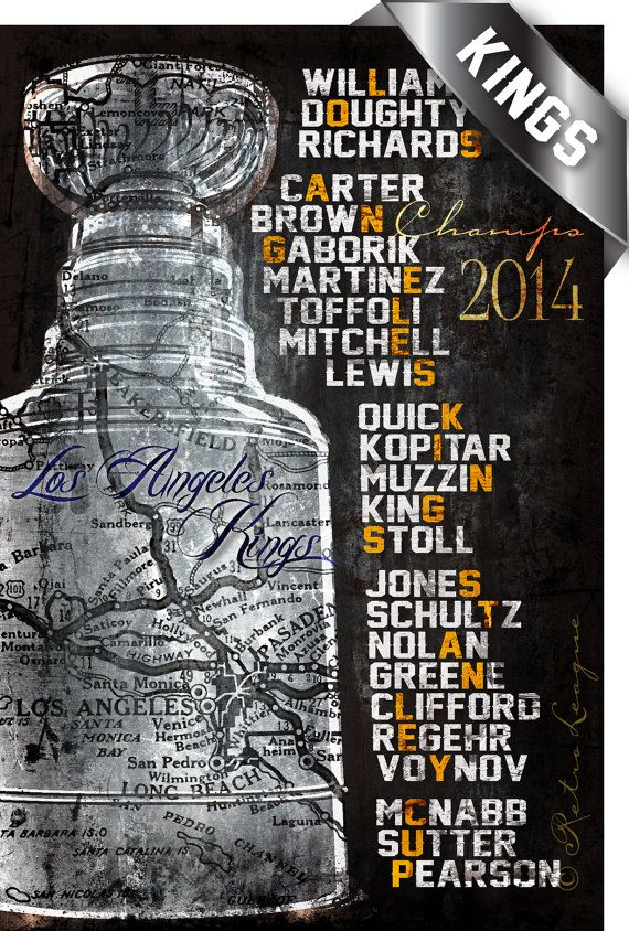 LA KINGS 2014 Stanley Cup Championship Roster - Perfect Gift for Birthday, Anniversary or Father's Day - Unframed Print on Etsy, $34.50
