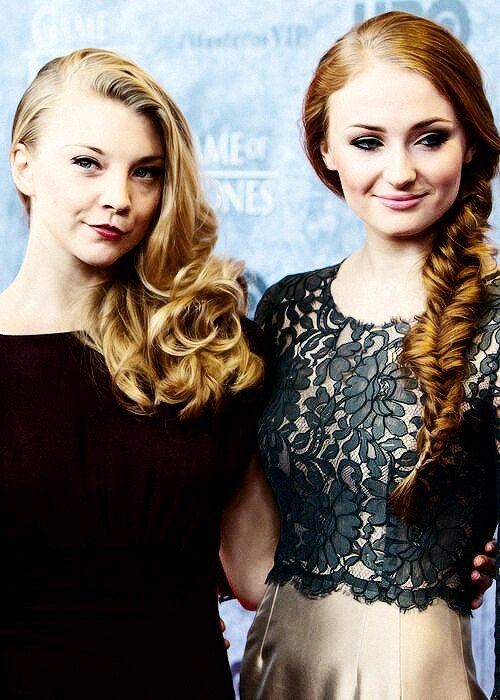 Natalie Dormer & Sophie Turner as Margery Tyrell and Sansa Stark