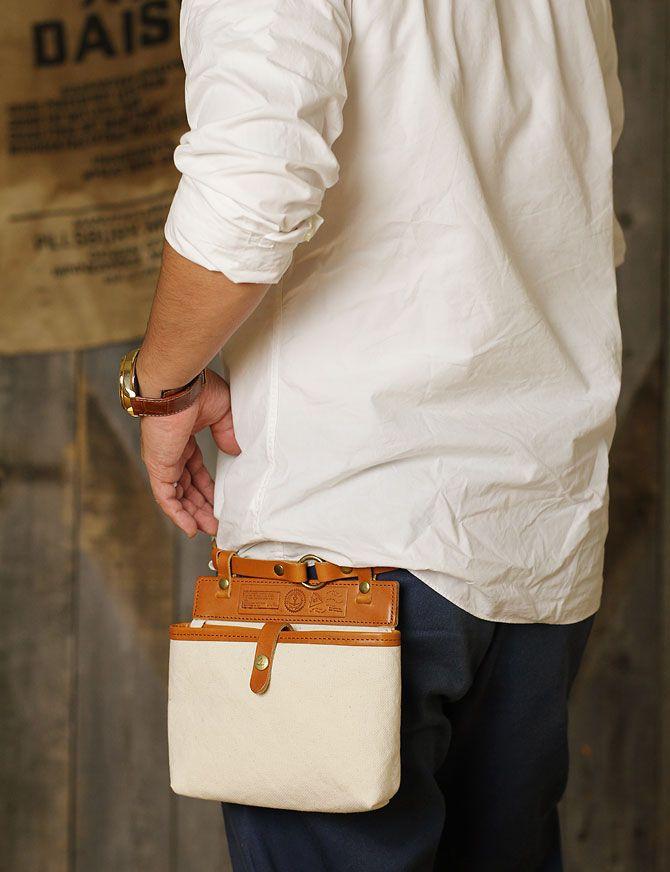 ウエストポーチ メンズ ドゥーマンフレイバー帆布×栃木レザー ヌメ革 シーガルシップ smic 014 着用画像1