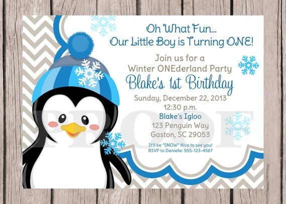 DIY PRINTABLE Penguin ONEderland, Winter Wonderland Invitation with Blue and Gray Chevron for Boys