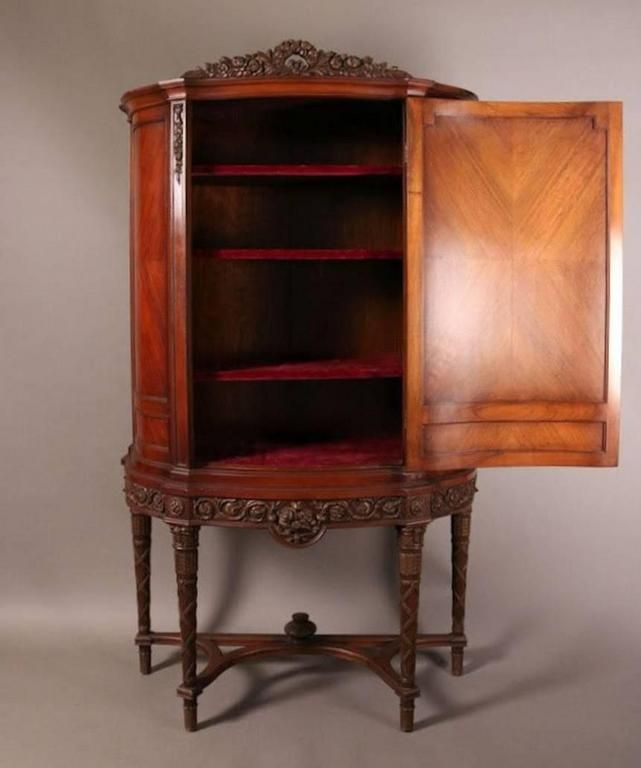 French Louis XVI Style Mahogany with Marquetry Blind Door China Cabinet For Sale at 1stdibs