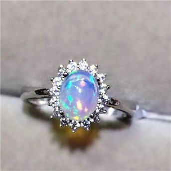 Charming Oval Cut Opal Ring in 925 Silver for Her