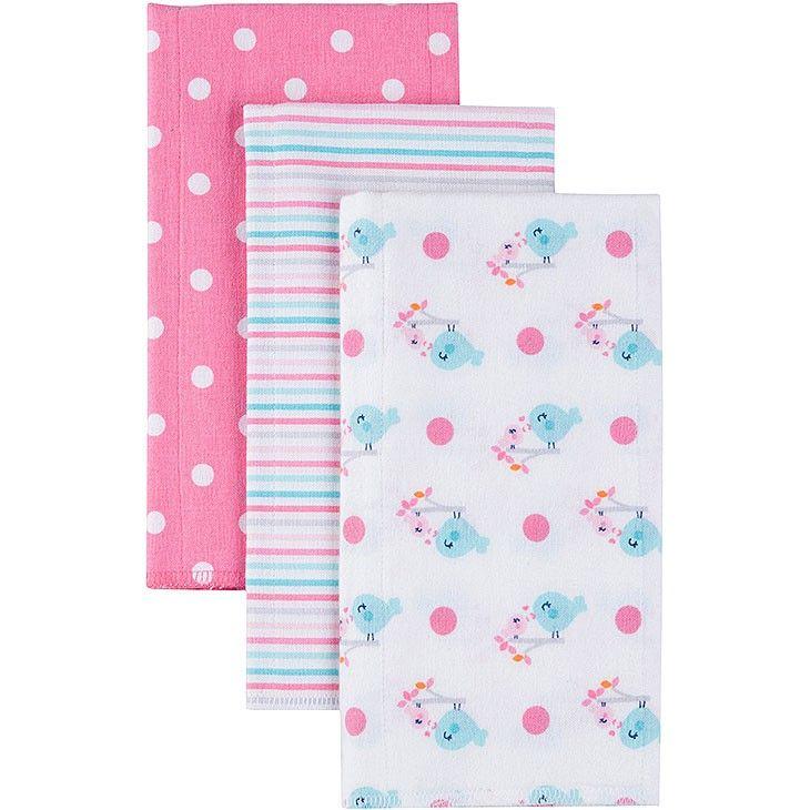 Gerber Baby Girls Newborn  Pack Flannel Burp Cloths