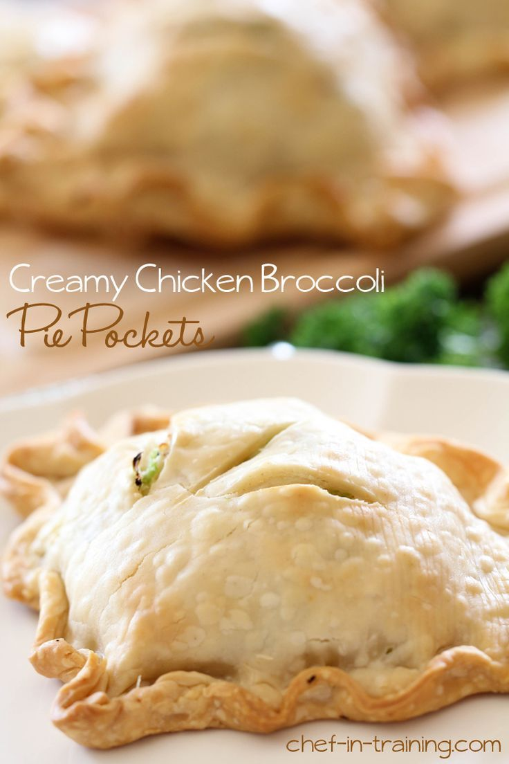 Creamy Chicken Broccoli Pie Pockets. This is a great, quick and easy meal. I cooked my own chicken instead of using a rotisserie chicken from the store and it was still quick and easy. It's also not expensive that way either. Jason and I both really enjoyed these and I will make them again.