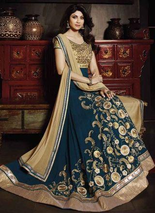Shilpa Cream And Teal Georgette Anarkali Suit http://www.angelnx.com/Salwar-Kameez/