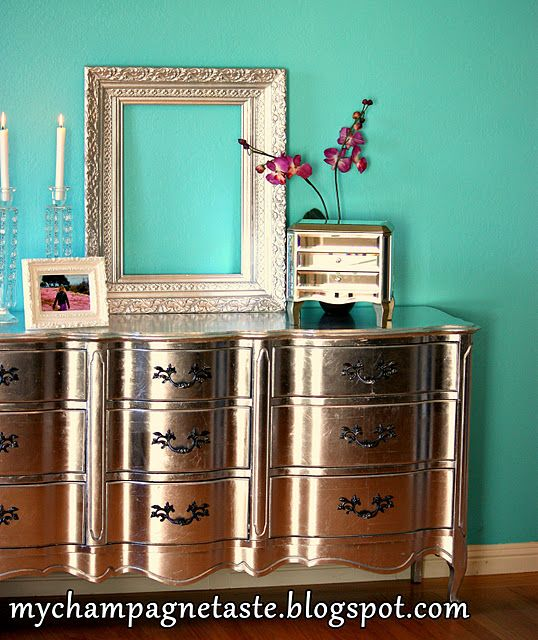 This upcycled silver leaf dresser has some serious bling!Wall Colors, French Provincial, Ideas, Silver Leaf, Old Dressers, Dressers Makeovers, Silverleaf, Repurpoed Furniture, Painting Dressers