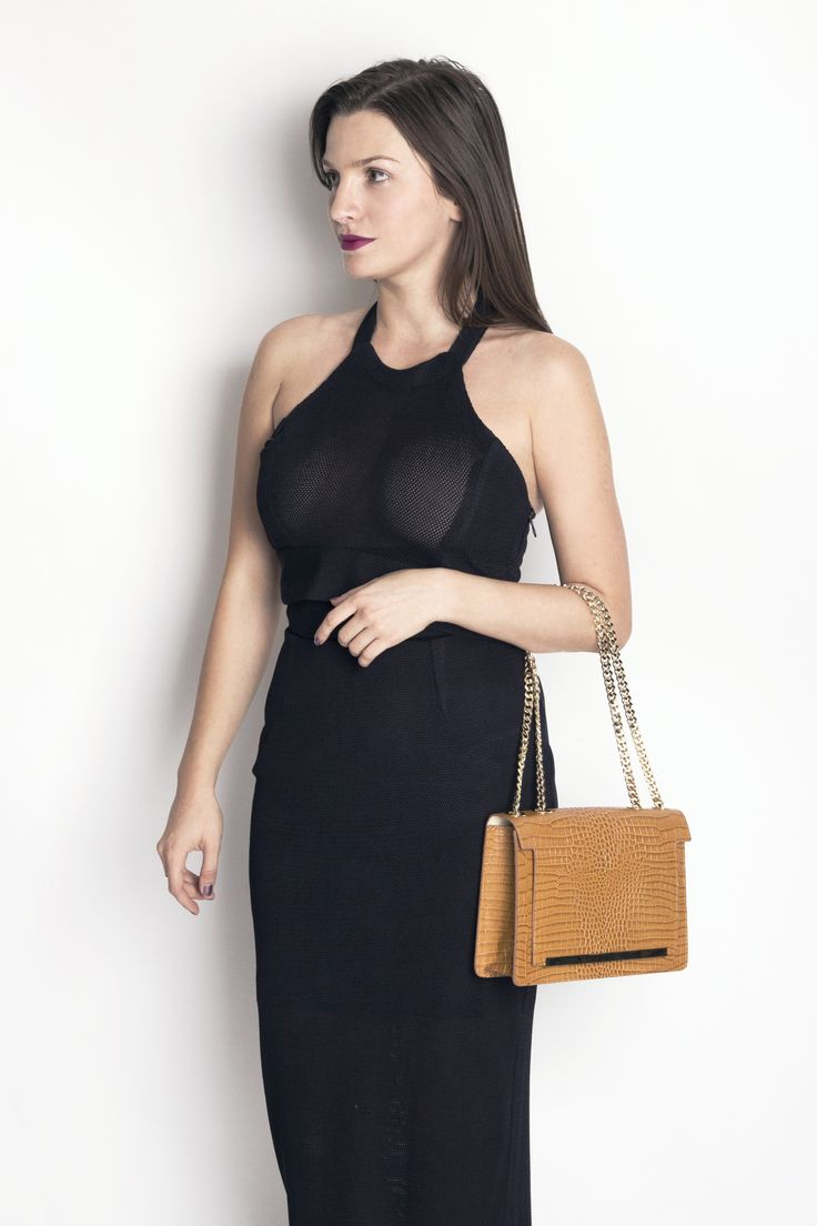 Coniac Mini Lauren leather bag with croco effect and golden chain @w