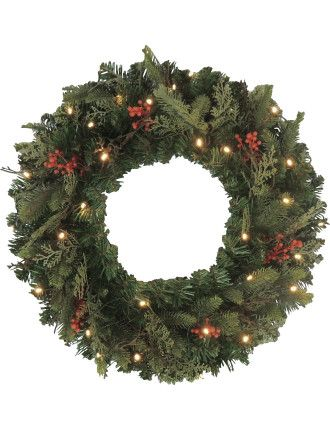 60cm Wreath Prelit Burlap Berry Dark Green