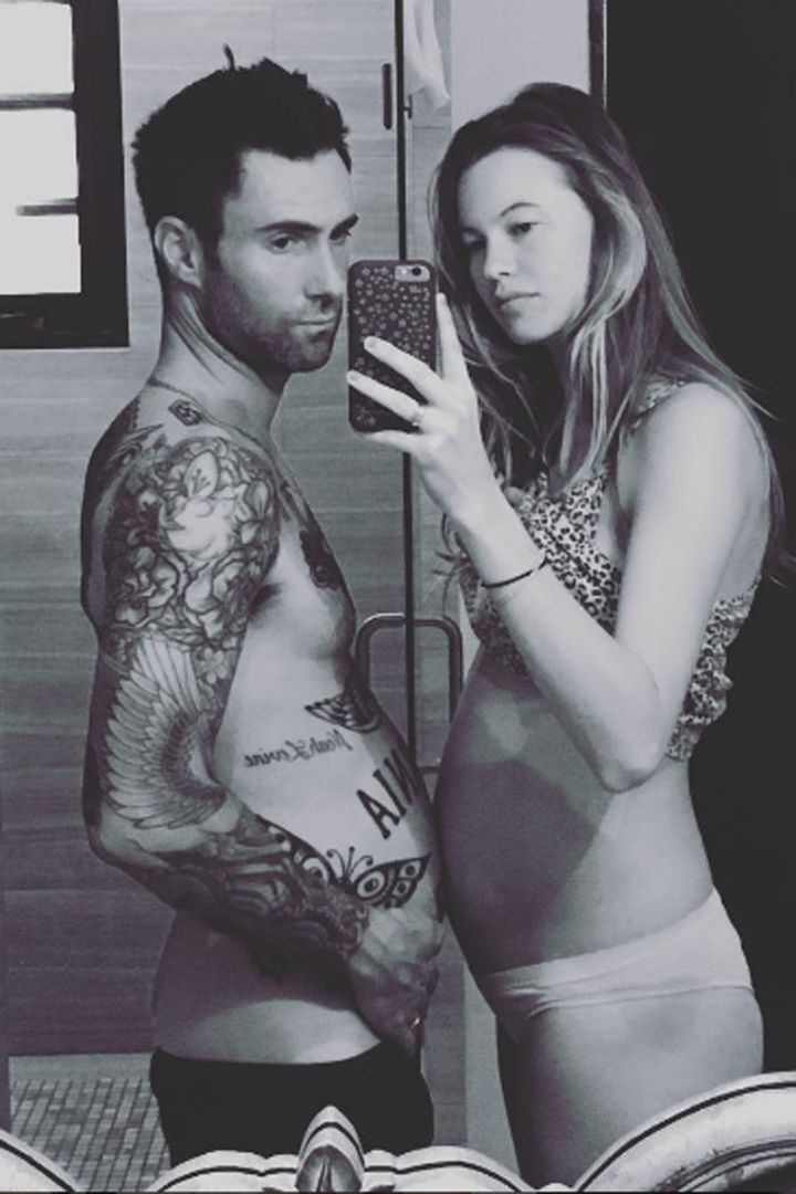 Adam Levine and Behati Prinsloo Go Shirtless and Show Off Their Matching Bellies on Instagram