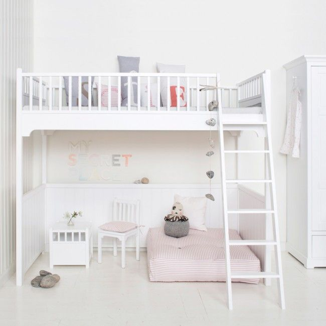 White Scandi styled Loft Bed by Oliver Furniture | Nubie - Modern Baby Boutique