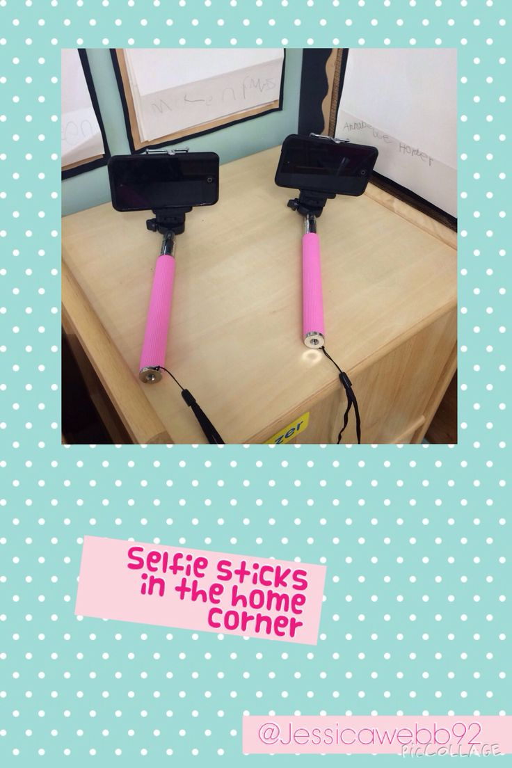Selfie sticks in the home corner. EYFS
