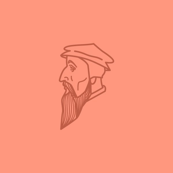 Minimalistic vector illustration of Johannes Calvin by Peter Voth  #minimal #design #inspiration #creative #illustration #illustration #face #head #lines #vector