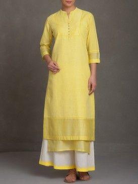 Yellow Embroidered Mandarin Collar Button Embellished Cotton-Linen-Chanderi Kurta