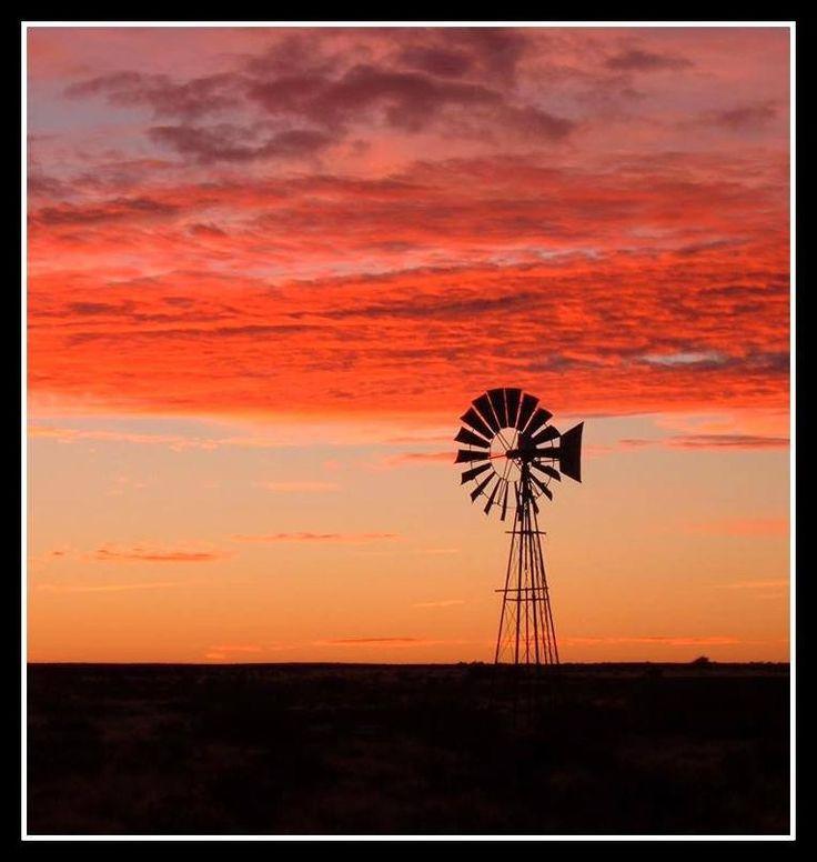 Windpomp & orange sky