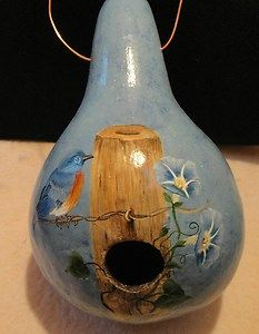 hand painted gourds | Hand Painted Gourd Birdhouse Bird on A Wire | eBay