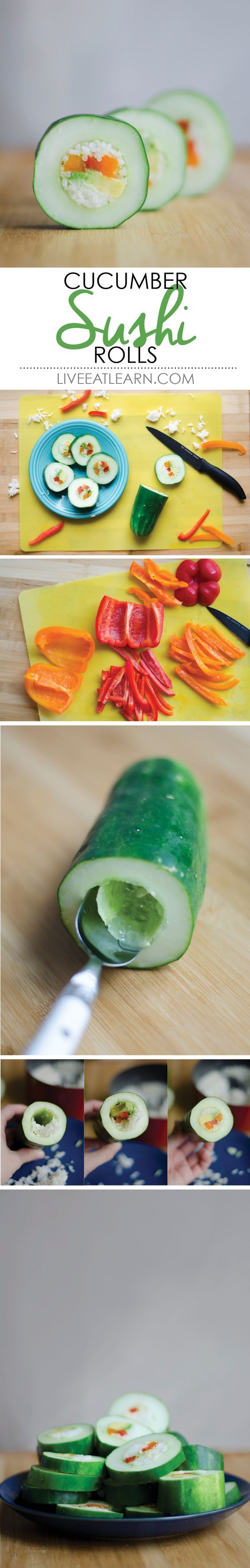 Hollow out a cucumber, stuff it with avocado, rice, bell pepper, and your favorite sushi fillings, slice it and there you have it! This recipe is a healthy, low calorie alternative sushi. Be prepared to fall in love with cucumber.