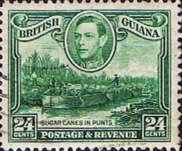 British Guiana 1938 King George VI SG 312a Sugar Cane in Punts Fine Used                    SG 312a Scott 234 Watermark Sideways       Condition Fine