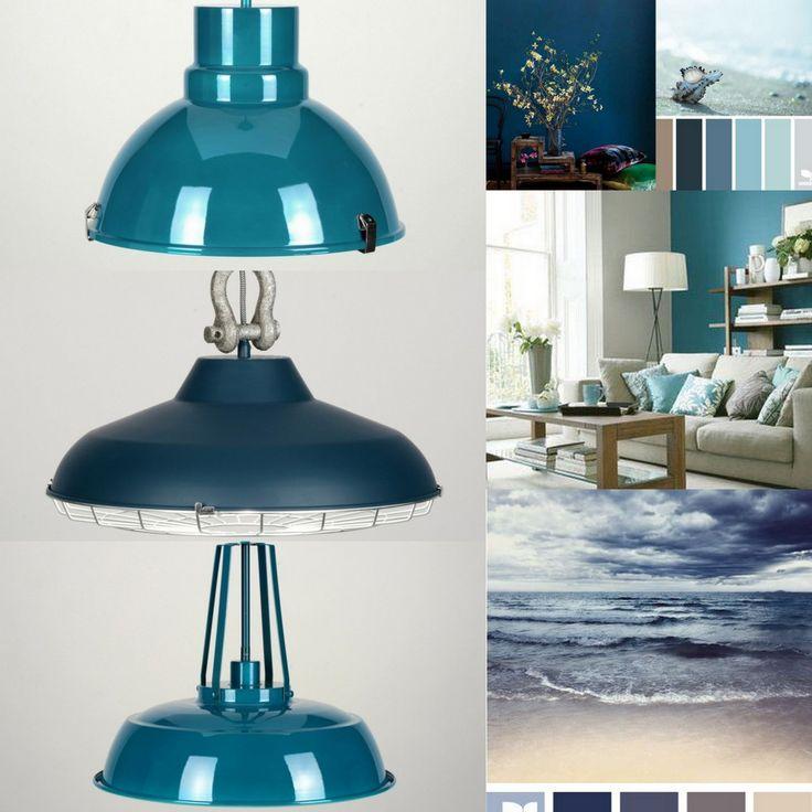 True blue,   Blauw in het interieur past binnen de op de natuur geïnspireerde woontrend. B.V koelblauwe tinten, geïnspireerd op de lucht en de oceaan. Deze tinten werken rustgevend en dus perfect toe te passen in de slaapkamer of woonkamer. Blauwtinten werken verfrissend in een interieur met veel hout en natuurlijke materialen.Ook heel mooi in een woonkeuken toe te passen dus.  http://www.rietveldlicht.nl/artikel/hanglamp-71836-modern-retro-industrie-look-glas-mat_glas-metaal-rond