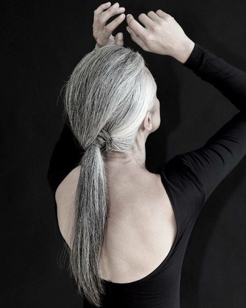 50 hairstyles for grey hair on this link Long Gray Low Ponytail For Older Women