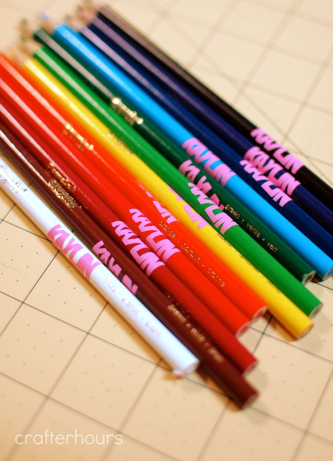 Use scrap vinyl and your Silhouette or Cricut to label school supplies.