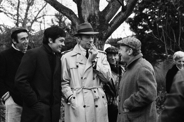Alain Delon On the set of Le cercle rouge with Yves Montand and Bourvil.
