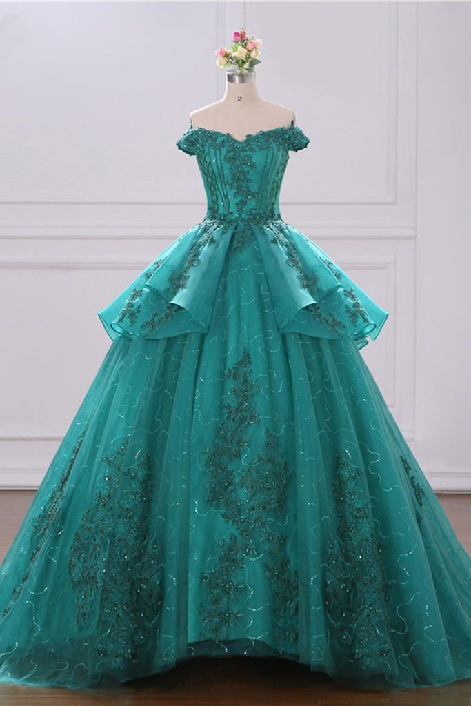 2019 Off Shoulder Green Tulle Layered Long Court Prom Dress 5b8f390936e0