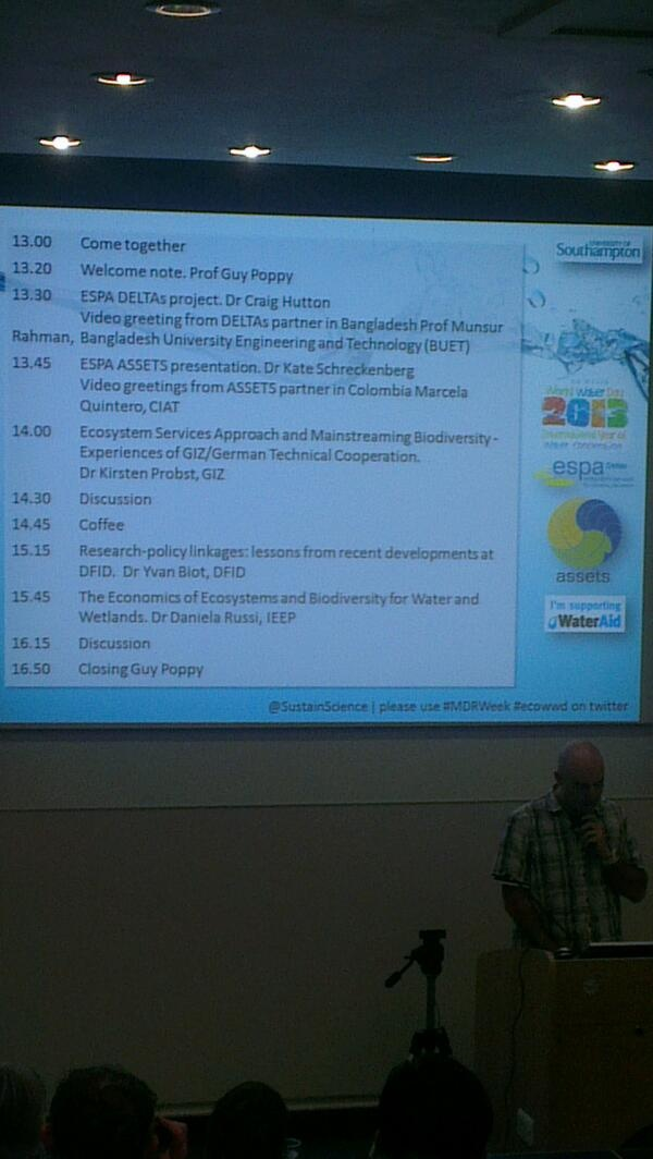 'Ecosystem Services for Poverty Alleviation' (ESPA) event.   Chair: Dr James Dyke, University of Southampton