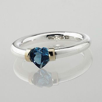 'I Love You' Heart Shaped Blue Topaz Ring