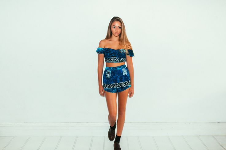 Her Pony Far Out Collection. Blue tie dye batik print festival clothing. Summer style crop top and shorts.