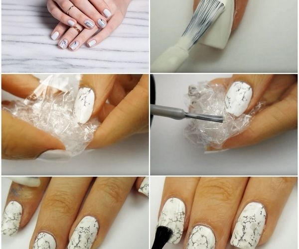 How to do marble nails at home with plastic wrap | Nail inspo in ...