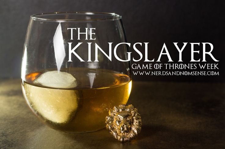 Inspiration. Here's the recipe: 1 oz. Crown Royal 1 oz. Crown Royal Maple Whiskey .25 oz. Butterschnapps .25 oz. Goldschlager (because Lannisters always pay their debts) Pour all contents into rocks/stemless wine glass over ball of ice. Enjoy.