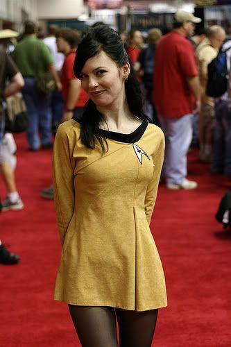 Star Trek TOS Starfleet gold female uniform cosplay [Star Trek TOS costume] (via Hannah Pratt)