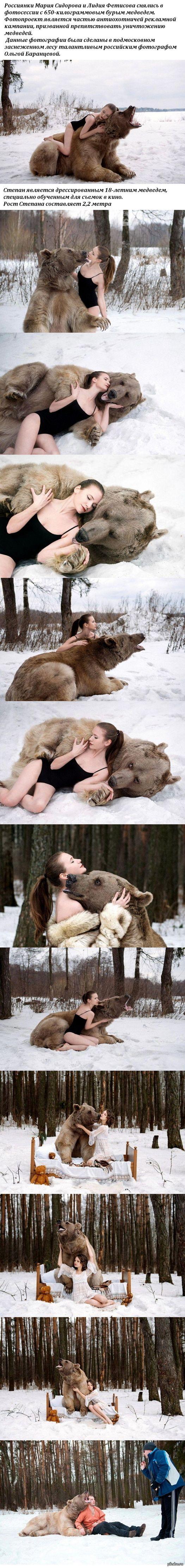 Фотографии моделей с 650-килограммовым медведем в заснеженном лесу   животные, медведь, фотосессия, длиннопост