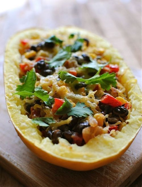 Southwestern Stuffed Spaghetti Squash Do NOT put the WHOLE squash in the oven. About 47 minutes into cooking the squash it EXPLOADED all over the oven. We heard a big BOOM! It was a big mess. Luckily most of the squash ended up on the baking sheet. I still made the recipe with the rest of the ingredients and put it in a casserole dish to cook. It was great.  Cut the squash in half or vent it.