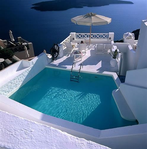 Blue Pool, Santorini, GreeceNeeds A Vacations, Swimming Pools, Santorini Greece, Blue, Wonder Places, Beautiful Life, Greek Style, House Exterior, Dreams Destinations